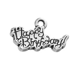 "Wholesale Personalized Birthday Gifts - Personalized Design Alloy Letter ""Happy Birthday"" Pendant Charm For Birthday Gift Jewelry"