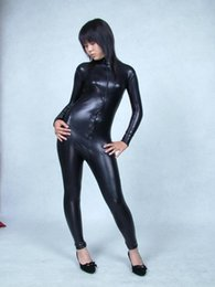 Wholesale Flash Suits - Black Front zip file open Elastic tights full body Glue Spandex lycra Metal flashing color Adult suit