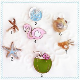 Wholesale Enamel Starfish - Wholesale- 1PC European Jewelry Cartoon Enamel Coconut Tree Starfish Goose Finger Seawater Piercing Brooches For Women Lapel Pins P712