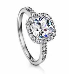 Wholesale Luxury Boho Fashion - White Gold Plated Square CZ Stone Luxury Wedding Engagement Big Boho Rings for Women Fashion Jewelry Neoglory