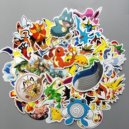 Wholesale Sticker Toilet - 60pcs lot Not Repeat PVC Sticker Pikachu Poke Anime Laptop Stickers Home Wall Fridge Decal Kids Toys Children Gifts