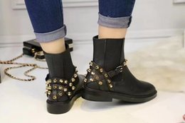 Wholesale Metal Toe Boots - Brand New High Quality Women Round Toe Ankle Boots Metal Buckles Black Cowhide Genuine Leather Martin Boots Woman Outdoor Shoes Size 35-40