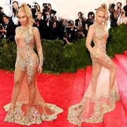 Wholesale Nude Naked - Glamorous Beauty Beyonce Celebrtiy Dresses 2017 Stylish Sheer Beaded Nude Naked Mermaid Evening Dresses Sexy Long Sleeve Red Carpet Dresses