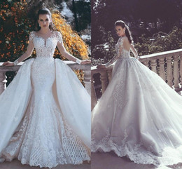 Wholesale Muslim Cover - 2017 New Backless Mermaid Lace Wedding Dresses With Detachable Train Plunging Neck Sleeves Beaded Tulle Overskirt Dubai arabic Bridal Gowns