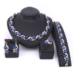 Wholesale Vintage Jade Beads - Fine Blue Resin Jewelry Sets Crystal Necklace Set Wedding Party Women African Beads Vintage Alloy Bridal Ring Bracelet Earrings