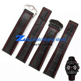 Wholesale men watch strap bracelet leather - Wholesale-The high quality genuine leather watch strap Black Watchband with red stitched Strap 20mm 22mm Men Watch watch accessories