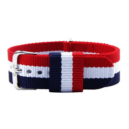 Wholesale Union Watches - Wholesale-Creative Popular Union Jack Color Canvas Watch Bands Fashion Stainless Steel Buckle 20mm Canvas Band Strap