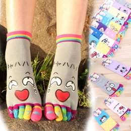 Wholesale Yoga Toe Socks Black - 6 pairs lot Korean Women Emotions Five-Toe Yoga Socks Cartoon Print Breathable Cotton Sock Fashion Female Five Toes Socks