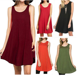 Wholesale Tank Top Summer Casual Dresses - New Hot Selling Summer Plus Size Dresses for Women 2017 Fashion Solid Slim Pure Dress With Sleeveless Round Neck Casual Tank Top ZL3014