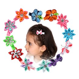 Wholesale Small Ribbon Bow For Hair - Wholesale- Small Handmade Hair Bows For Girls Kids 2 - 2.5inch Sweet Flower Hair Clip Ribbon Barrette Girl Hair Accessories 12PCS XCA004