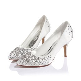 Wholesale Women Beaded Pumps - best selling fashion crystal satin women shoes high heels wedding shoes bride bridesmaid evening prom party
