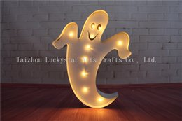 Wholesale Lighted Coffee Signs - Wholesale- Celebrate Halloween Metal LED Ghost shape Marquee Sign LIGHT UP signs night light coffee BAR Indoor Deration free shipping