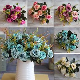Gros-Hot Élégant Belle Européenne Artificielle Rose Simulation Fleurs En Soie Bouquet Accueil Dec Party mariage Decal ? partir de fabricateur