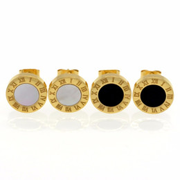 Wholesale Roman Numerals Numbers - Fashion Gold Silver Color 10mm Roman Numerals Earrings Stainless Steel Stud Earrings Classic Jewelry For Women