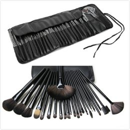 Wholesale Leather Pieces Black - 10 set Free Shipping New Makeup Brushes MC 24 Pieces Brush Sets With Leather Pouch in stock