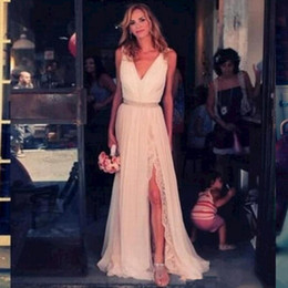 Wholesale Dresses Bohemia Style Chiffon - Bohemia Style Beach Wedding Dresses Hot Sales New Matched Sash Pleats High Split Sleeveless Sexy V-Neck Lace Chiffon Bridal Gowns W1608