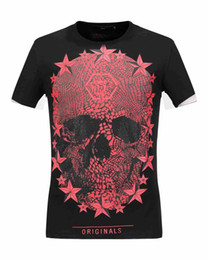 Wholesale Fiber Clothes - luxury clothing brand new P P2017 skull bead skull printed man T shirt o-neck star fashion short sleeved summer street fashion M-XXXL 18279
