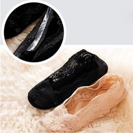 Wholesale Sexy Low Cut Socks - Wholesale-1PAIR NEW KOREAN WOMEN SEXY ELASTIC COTTON LACE ANTISKID INVISIBLE LOW CUT SOCKS hot sale
