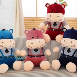 Wholesale Doll Overall - Hot Sale Hippo Doll Lovely Overalls Hippo Plush Toy Big Size Stuffed Animal Valentine's Day Gifts