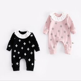 Wholesale Doll Draw - 2 colors INS New style autumn Baby kids long sleeve cute Doll Collar geometric drawing printing romper 100% cotton kids clothing free ship