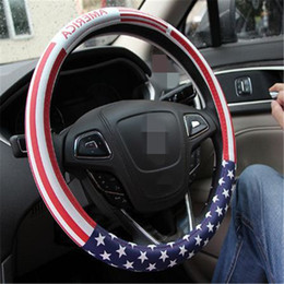 Wholesale Stylish Car - Stylish steering wheel cover PU Leather Car cover for steering wheel USA national flag print steering wheel covers cars atp210
