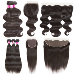 Wholesale Mongolian Remy Body Wave - Brazilian Body Wave Virgin Hair Straight Remy Human Hair Extensions 3 Bundles with 4x4 Lace Closure and 13x4 Lace Frontal Weaves Closure