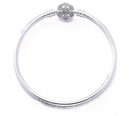 Wholesale Pandora Pave Heart Charms - 925 Sterling Silver Women Snowflake Bangle Bracelets Logo Stamped Heart Clasp Cubic Zirconia Paved for Pandora European Charms and Bead