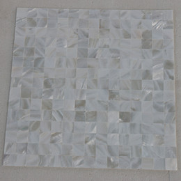 Wholesale Pearl White Tile - 20x20mm white color Mother Of Pearl shell mosaic , seamless tile mesh backer Bathroom wall tile #MS123