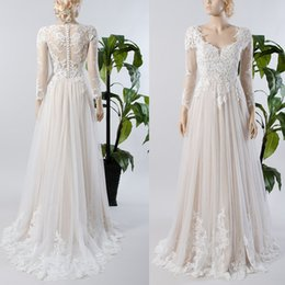 Wholesale Wedding Dresses Covering Back - A line Long Sleeve Lace Tulle Wedding Dress Illusion Sheer Button Back Champagne lining Inside Beach Bridal Gown