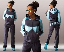 Wholesale Motorcycle Hooded Sweatshirts - Sports Suit Jogging Suits For Women Letter vs Pink Print Sport Suit Hoodies Sweatshirt +Pant Jogging Sportswear Costume 2 piece Set