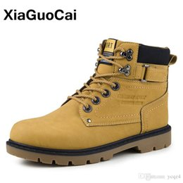 Wholesale Demin Top - XiaGuoCai 2017 Spring Autumn Newest Men Tooling Boots High Top Lace Up Ankle Boots High Quality Male Martin Boots mcc8