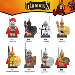 Wholesale 120pcs Mix Gladiatus Series Minifig Spartacus Arvoesine Crusader Centurion Heavy infantry X0164 Mini Building Blocks Figures