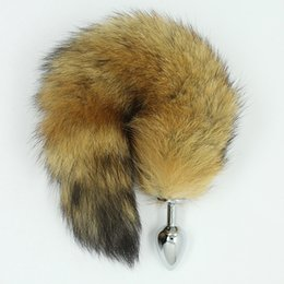 Wholesale Long Anal Tail Plug - NEW !!! Attractive stainless steel buttplug butt anal plugs with long hair   foxtail   dog fox tail