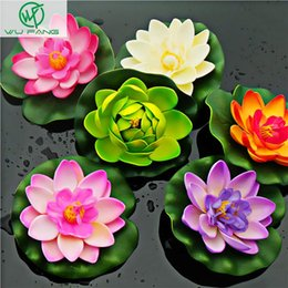 Wholesale Water Lily Silk Flowers - Wholesale-artificial silk plastic flowers fake bouquet cheap for wedding decoration manualidades mariage flores plants Water lily lotus