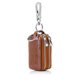 Wholesale Double Chain Wallet - New Arrival Genuine Leather Men Car Key Holders Housekeeper Multifunctional Double Zipper Square Home Key Case Women Key Wallet