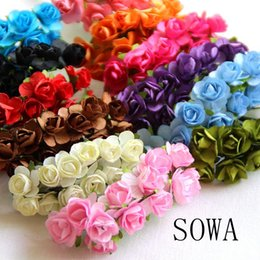 Wholesale Paper Rose Heads - Wholesale-Free Shipping 12PCS lot 15-20mm Head Multicolor Artificial Paper Flower Rose Using For Decorative Gift