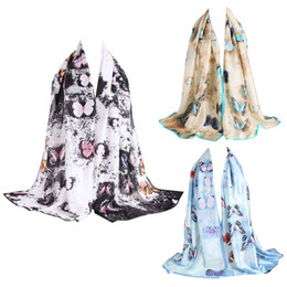 Wholesale Elegant Winter Scarf Woman - Elegant Slik Scarves Spring Winter Women Fashion Long Tippet Butterfly Flower Printed Scarves Top Quality DM#6