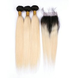 Wholesale Hair Color Roots - Ombre Blonde Hair Extensions 1B 613 Brazilian Blonde Human Hair Bundles with Closure 3 Bundles with Lace Closure Silk Straight Dark Roots