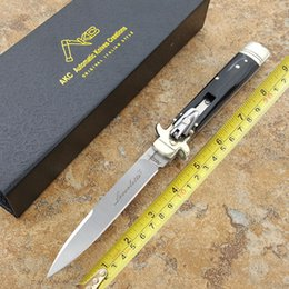 """Wholesale Hunt Horn - AKC 9"""" INCH Classical knife ox horn hilt leverletto Plus model Godfather Stiletto D2 steel blade survival outdoor camping knives"""