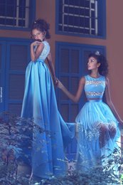 Wholesale Sexy Satin Baby - 2017 Baby Blue Formal Long Evening Dresses 2017 Said Mhamad 3D Floral A Line Satin Sheer Prom Dresses Illusion Material Custom Made
