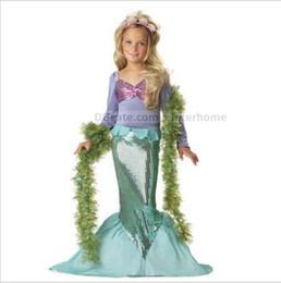 Wholesale Evening Gowns Wholesale Sleeves - Kids Mermaid Evening Dresses Girls Mermaid Tail Princess Dress Ariel Costume Fancy Dresses Party Cosplay Long Sleeve Dress Hearwear B1603
