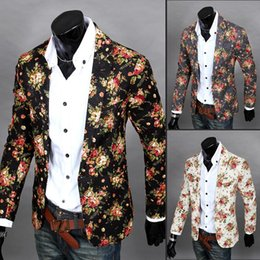 Wholesale Male Blazers - Wholesale- men slim three-dimensional cut male blazer flower suit
