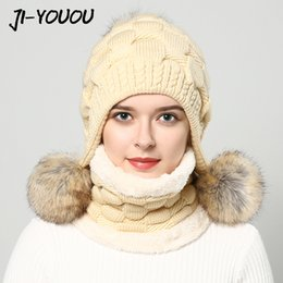 Wholesale Fur Ear Flap Hats - Wholesale- Women's winter hats fur hat pompom fashion beanie raccoon fur ball knitted hat Thicker hat with ear flaps cap scarf earflap