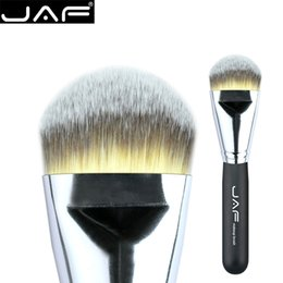 Wholesale wood presses - Wholesale- JAF Kabuki Liquide Foundation Brush for Face Makeup Beauty Straight Taklon Synthetic Tri-Color Hair Pressed Round Tip 18STYF