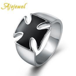 Wholesale White Enamel Vintage Ring - Ajojewel Simple White Gold Plated Enamel Classic Black Cross Ring For Men Fashion Brand Jewelry Vintage Men Jewelry