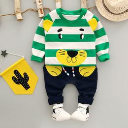 Wholesale Wholesale Linen Pants Sets - 2 Pcs Set Children Autumn Two Piece Sets Long Sleeve T-shirt + Pant Baby Cotton Cartoon Linens Outfits Kids Fashion Sets 4 Sets lot B