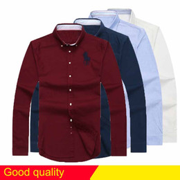 Wholesale Collar Free Shirt - free Shipping plaid lapel men's long sleeved Cotton Shirt Men USA Brand POLO Shirts Fashion 100% Oxford Casual Shirt Small Horse Clothes