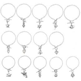 Wholesale Pistol Pendants - Elegant Women Pearl Oyster Charm Bracelets Fashion Silver Pistol Owl Ostrich Pearl Cage Pendant Locket Bracelet Jewelry