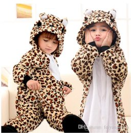 Wholesale Cheap Animal Anime Costumes - Sexy Leopard Bear Kigurumi Pajamas Baby Animal Suits Cheap Cosplay Outfit Halloween Costume Garment Cartoon Jumpsuits Child Unisex Sleepwear