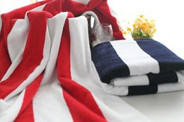 Wholesale Terry Towels For Children - New Arrival 70*140cm Cotton Cut Pile Terry Large Men Bath Beach Towels for Adults Serviette de Plage Striped Towel Beach Bathroom Towels